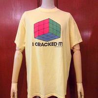 ビンテージ80's●ルービックキューブプリントTシャツ黄 Size XL●200710s1-m-tsh-ot メンズ半袖トップスレトロ古着