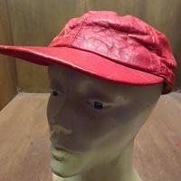ビンテージ~50's●耳当て付きレザーベースボールキャップ赤7 3/8●201115n4-m-cp-bb 40s1940s1950s野球帽6パネル