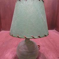 ビンテージ40's50's●ガラステーブルランプ黄緑●201203n5-lmp 1940s1950s照明スタンドライトミッドセンチュリー