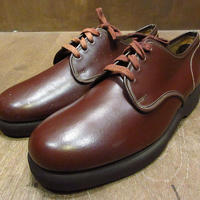 ビンテージ70's●DEADSTOCK CITY CLUBプレーントゥシューズ赤茶7D●210405n8-m-dshs-255cm 1970sデッドストック革靴ワークシューズ