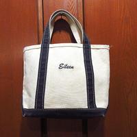 MADE IN U.S.A. L.L.Beanキャンバストートバッグ白×黒size S●210618f8-bag-ttビーントートエルエルビーンハンドバッグUSA製アウトドア