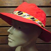 ビンテージ70's80's●DEADSTOCKロールアップハット赤size M●200821n3-m-ht-otバケットハット古着メンズ帽子キャップコットンレッド