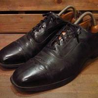 ビンテージ60's●キャップトゥシューズ黒8 1/2●210302n12-m-dshs-265cm 1960s革靴ドレスシューズメンズ
