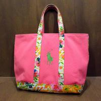 Ralph Lauren 花柄切り替えキャンバストートバッグ ピンク●210327n7-bag-tt Mサイズラルフローレンカバンフラワー