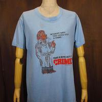 ビンテージ70's●McGRUFF the CRIME DogプリントTシャツ水色 size L●210513n3-m-tsh-ot古着犬半袖シャツキャラクターアニメUSA製