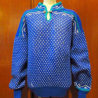 ビンテージ●ALPSプルオーバーバーズアイ総柄セーター青size M●210110s1-m-swrノルディックニットトップス古着チロルセーターウール