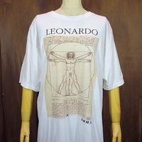ビンテージ90's●レオナルドダヴィンチ ウィトルウィウス的人体図Tシャツ Size XL●200715n2-m-tsh-ot アートプリント半袖古着