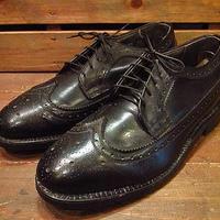 ビンテージ70's●DEADSTOCKウイングチップシューズ黒●210223n10-m-dshs-27cm 1970sスチールトゥデッドストック革靴ドレスシューズメンズ