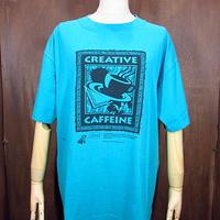 ビンテージ90's●CREATIVE CAFFEINプリントTシャツ Size L●200711n1-m-tsh-ot コーヒーカフェイン半袖古着
