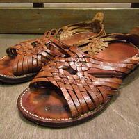 ビンテージ60's70's●レディース編み込みレザーサンダル茶●200625n4-w-sdl-245cm 1960s1970sレトロヒッピー靴