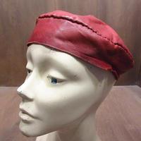 ビンテージ60's70's●レザーベレー帽茶●210329n6-m-cp-ber 1960s1970s牛革ブラウン帽子レトロヒッピー