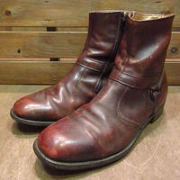 ビンテージ70's●Wrightサイドジップブーツ赤茶9EEE●200810n7-m-bt-275cm 1970sメンズレザー靴