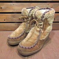 ビンテージ70's●SNOWLANDフェイクファー×スウェードエスキモーブーツsize 6 1/2●201030n5-w-bt-245cm革靴エスニック古着レディース古靴
