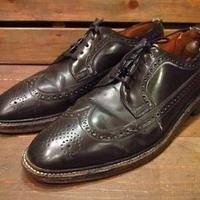 ビンテージ70's●NUNN-BUSHフェイクレザーウイングチップシューズ黒●210223n12-m-dshs-28cm 1970s革靴ドレスシューズメンズ