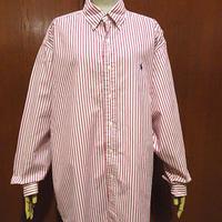 ビンテージ90's●Ralph Laurenストライプコットンボタンダウンドレスシャツsize L●210206f4-m-lssh-drs古着ラルフローレンBDシャツ