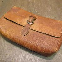 ビンテージ40's50's●レザードップキットバッグ茶●201018n5-bag-ot 1940s1950sトラベルケース旅行クラッチバッグ