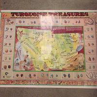 ビンテージ●アメリカターコイズ分布マップポスター 約70.5cm×約55.5cm●200610s6-pst 南西部インディアン宝石鉱山地図