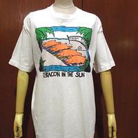 ビンテージ90's●BACON IN THE SUNコットンピッグプリントTシャツsize L●210221f4-m-tsh-ot古着半袖シャツFRUIT OF THE LOOM USA製