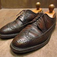 ビンテージ70's●FLORSHEIMウイングチップシューズ茶10D●210114n3-m-dshs-28cm 1970sフローシャイム革靴ドレスシューズVクリート