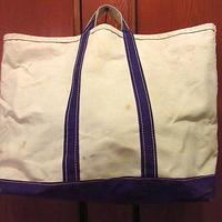 ビンテージ70's●L.L.Bean ?耳付きキャンバストートバッグ白×紫size L●201130f7-bag-ttビーントートハンドバッグアウトドアエルエルビーン