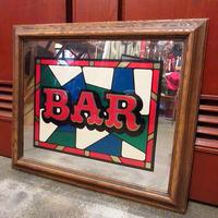 ビンテージ●BAR ステンドグラス風パブミラー●210416s8-sign バーサイン壁掛けディスプレイ雑貨インテリアステンドガラス風
