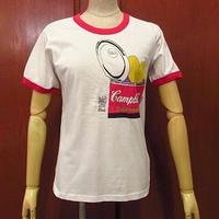 2000's DEADSTOCK Campbell'sプリントリンガーTシャツ白×赤size S●201122f5-m-tsh-ot古着半袖シャツUSA製キャンベルスープ食品コットン
