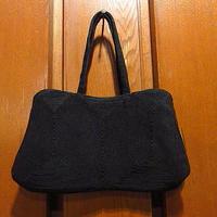 ビンテージ40's●コードイブニングバッグ黒●210104f8-bag-hnd雑貨かばんパーティバッグブラックハンドバッグレディース