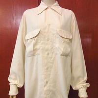 ビンテージ50's●レーヨンループカラーシャツ生成り●200925s2-m-lssh-lp 長袖シャツラウンドシャツトップス無地古着