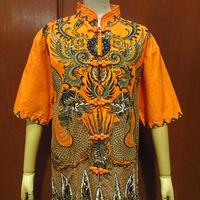 ビンテージ●スタンドカラーコットンチャイナシャツ橙size M●210430f7-w-sssh古着メンズ半袖シャツ龍総柄