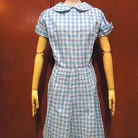 ビンテージ60's70's●ネップ織りチェック半袖ワンピース●210607s2-w-ssdrs 1960s1970sレディース女性用古着ロングドレス