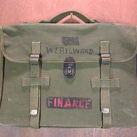 ビンテージ50's●ミリタリー ステンシル&ハンドペイント入りキャンバスブリーフケース●201014n6-bag-brf 書類カバン米軍ハンドバッグ