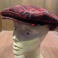 ビンテージ50's●チェックウールハンチング帽●201115n2-m-cp-htg 1950sアジャスタブルサイズ調整可ロカビリー