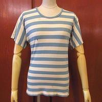 ビンテージ70's●レディースボーダーTシャツ水色×白●200607f6-w-tsh古着半袖シャツトップスUSAレトロ