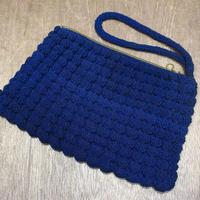 ビンテージ40's●コードクラッチバッグ紺●210323n1-bag-clt 1940sレディースポーチ鞄ネイビー