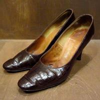 ビンテージ40's●リザードスキンヒール Size 7 1/2 AA●210313n3-w-pmp-245cm パンプスレディースシューズレトロ靴