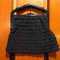 ビンテージ40's●コードイブニングバッグ黒●210118s9-bag-hnd雑貨かばんパーティバッグブラックハンドバッグレディースアンティークUSA