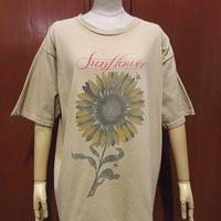 ビンテージ90's●Sun FlowerプリントコットンTシャツベージュsize L●210404f5-m-tsh-ot古着ひまわりお花フラワープリント半袖シャツメンズ