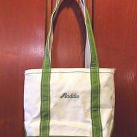 MADE IN U.S.A. L.L.Beanジッパー付きロングハンドルトートバッグ黄緑×白size S●201116s8-bag-ttビーントートエルエルビーンアウトドア