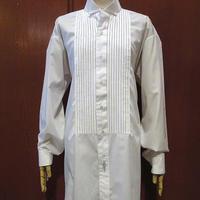 ビンテージ80's●Pierre cardinコンバーチブルカフスプリーツノーカラードレスシャツ白size XL●210411s9-m-lssh-drsピエールカルダン古着