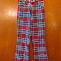 ビンテージ70's●キッズチェックフレアパンツ臙脂×水色W62cm●200603s7-k-pnt-ot 1970sベルボトムヒッピー子供服