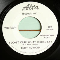 BETTY HOWARD●I DON'T CARE WHAT PEOPLE SAY/TRIFLING MAN Alta 109●210309t3-rcd-7-cfレコード米盤US盤カントリー