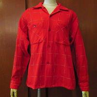 ビンテージ50's●Pleasure Kingチェック柄ウールループカラーシャツ赤size M●200818s4-m-lssh-wlレッド古着トップス長袖シャツUSAメンズ
