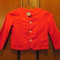 ビンテージ50's●Viyellaキッズウール3Bノーカラージャケット赤size 4●201023f12-k-jkブレザー子供服アウターテーラードジャケット