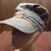 ビンテージ40's●Carharttハートタグピンストライプレイルロードキャップ●200910n6-m-cp-wk 1940sカーハートワークキャップ帽子