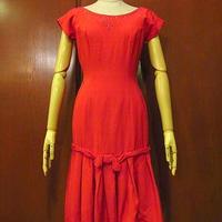 ビンテージ50's●ビーズ飾り付きノースリーブワンピース赤●200725s6-w-nsdrsレディース女性用レッド古着ドレスUSA