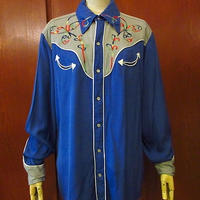 ビンテージ50's●HBARCレーヨンウエスタンシャツ青×グレー●200814s4-m-lssh-wstn古着エイチバーシーギャバジンギャバシャツ
