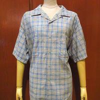 ビンテージ60's●BRENTコットンループカラーチェック半袖シャツsize XL●210515s3-m-sssh-lp 1960sボックスシャツ開襟オープンカラー