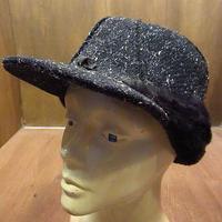 ビンテージ~70's●耳当て付きネップ織りウールワークキャップM●201027n1-m-cp-wk 60s1960s1970s帽子