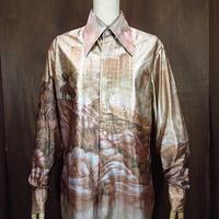 ビンテージ70's●KENNINGTONインディアンプリントシャツ●200616n4-m-lssh-hpe 1970sヒッピーディスコ長袖レトロケニントン