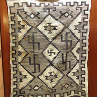 ビンテージ20's30's●ナバホスワスティカラグ 約178cm×約125cm●210331s9-rug 1920s1930sインディアンネイティブアメリカン毛布マット卍